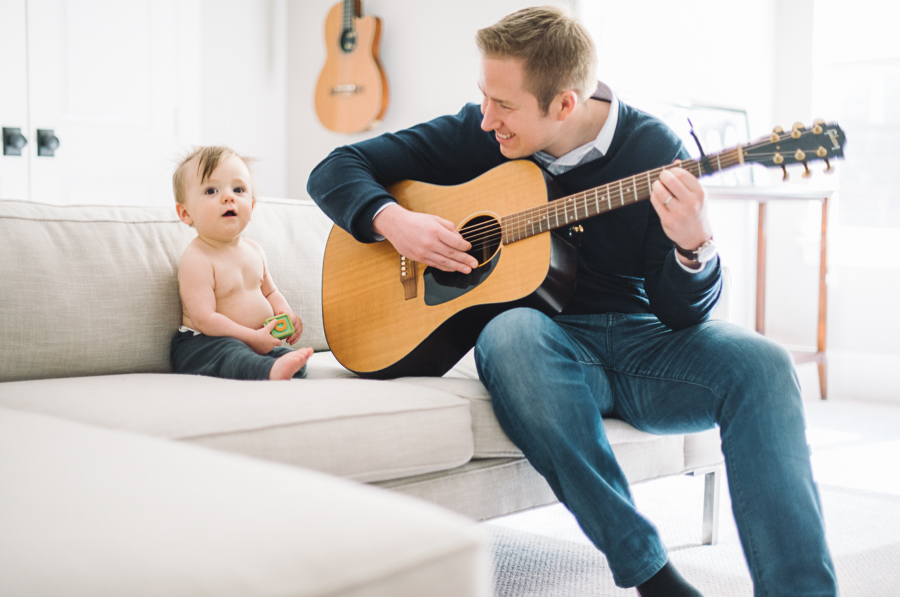 11 dad and baby with guitar at home in dallas